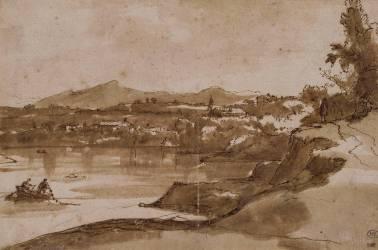 Paysage avec le Tibre (Le Lorrain Claude) - Muzeo.com