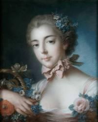 Portrait de jeune femme appuyée sur une corbeille de fleurs (Boucher François) - Muzeo.com