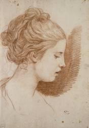 Tête de jeune fille de profil à droite (David Jacques Louis) - Muzeo.com
