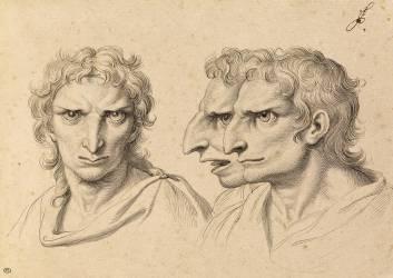 Trois têtes d'hommes en relation avec l'aigle (Le Brun Charles) - Muzeo.com