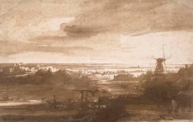 Vue panoramique d'une plaine avec un moulin à vent (Rembrandt Harmensz van Rijn) - Muzeo.com