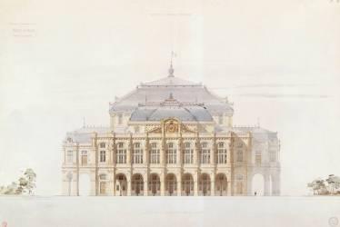 Académie impériale de musique, projet d'opéra, élévation de la façcade principale (Eugène Viollet-Le-Duc) - Muzeo.com