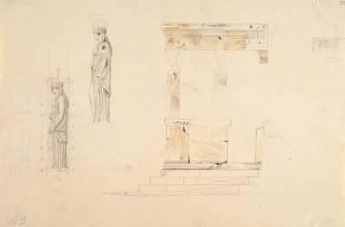 Album de Grèce, Athènes, l'Erechtheion : étude des Korès (Boitte...) - Muzeo.com