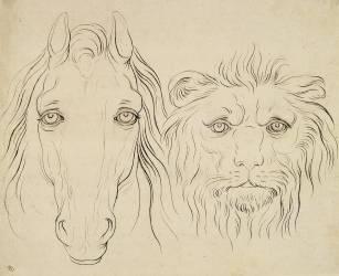 Album I : une tête de cheval et une tête de lion (Le Brun Charles) - Muzeo.com