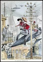 Anticipation : representation imaginaire d'une ville en 1953 : une jeune femme sur un engin volant circulant dans le ciel. (Albert Robida) - Muzeo.com