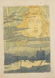 Apparition d'un visage nimbé dans le ciel au-dessus de Paris (Grasset Eugène) - Muzeo.com
