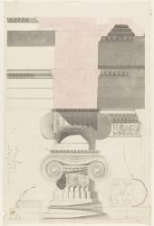 Athènes, Erechtéion, portique sud, base, chapiteau, coupe de l'entablement (Gosset Alphonse) - Muzeo.com