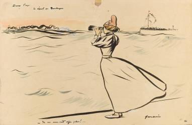 Au bord de la mer, Marianne regarde un navire disparaître (Forain Jean-Louis) - Muzeo.com