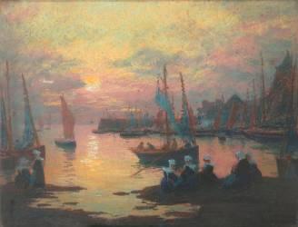 Coucher de soleil dans un port breton (Mathurin Janssaud) - Muzeo.com