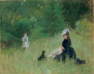 Dans le parc [Edma Pontillon, soeur de B. Morisot et ses filles, Jeanne et Blanche] (Morisot Berthe) - Muzeo.com