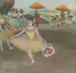 Danseuse au bouquet saluant sur la scène (Degas Edgar) - Muzeo.com