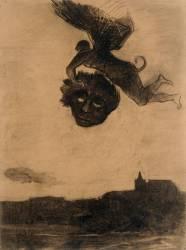 Démon ailé dans les airs, tenant un masque (Redon Odilon) - Muzeo.com