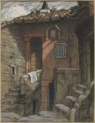 Deux maisons accolées en angle, dans un village, avec deux perrons (Hébert Ernest Antoine Auguste) - Muzeo.com