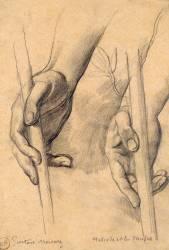 Etude de mains pour Hésiode et les muses (Moreau Gustave) - Muzeo.com