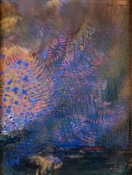 Fantaisie : éclatement orange et bleu, sur fond sombre (Redon Odilon) - Muzeo.com