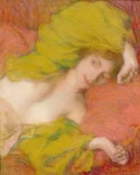 Farniente ou Etude de femme drapée les mains levées (Aman-Jean Edmond) - Muzeo.com