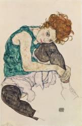 Seated Woman with Bent Knee (Schiele Egon) - Muzeo.com
