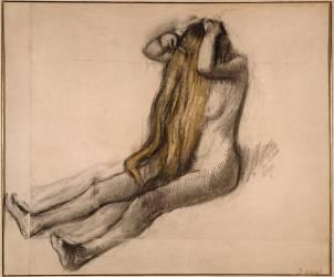 Femme assise par terre, se peignant (Degas Edgar) - Muzeo.com