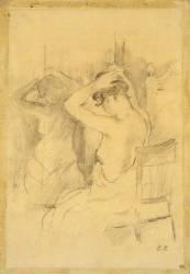 Femme demi nue, vue de dos, se coiffant, une glace reflétant son corps (Morisot Berthe) - Muzeo.com
