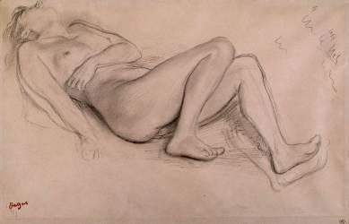 Femme nue, allongée sur le dos, étude pour Scène de guerre (Degas Edgar) - Muzeo.com