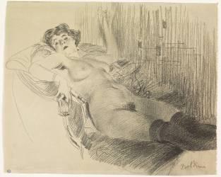 Femme nue, allongée sur un canapé, portant des bas noirs (Boldini Giovanni) - Muzeo.com