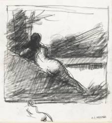 Femme nue de dos, dans un paysage, étude pour Le Soir (Henner Jean Jacques) - Muzeo.com