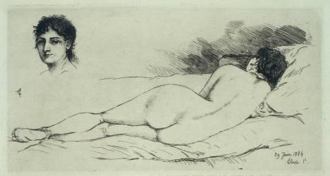 Femme nue étendue, tête de femme (Agache Alfred Pierre) - Muzeo.com