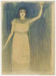 Femme vue en pied, debout, le bras gauche tendu vers le haut (Steinlen Théophile Alexandre) - Muzeo.com