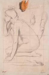 Feuille d'études pour Sémiramis : femme nue accroupie (Degas Edgar) - Muzeo.com