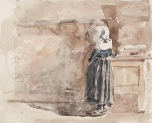 Fillette bretonne dans un intérieur (Boudin Louis-Eugène) - Muzeo.com