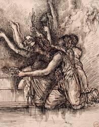Groupe d'hommes et de femmes agenouillés, les bras tendus en signe de supplication (Moreau Gustave) - Muzeo.com