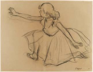 Jeune danseuse agenouillée étendant un bras droit vers la gauche (Degas Edgar) - Muzeo.com