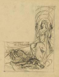 Jeune femme avec une couronne d'étoiles, deux figures allongées (Mucha Alfons) - Muzeo.com