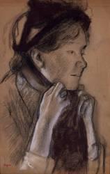 Jeune femme nouant les rubans de son chapeau (Mary Cassatt) (Degas Edgar) - Muzeo.com