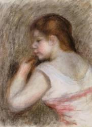 Jeune fille de profil à gauche dit aussi Tête de Jeune fille (Renoir Auguste) - Muzeo.com