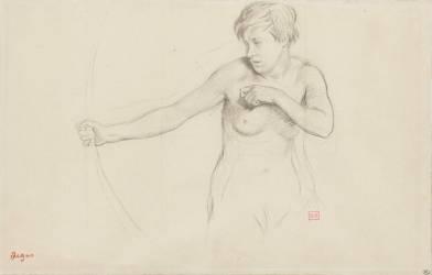 Jeune fille nue, à mi-corps, tirant à l'arc (Degas Edgar) - Muzeo.com