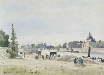 La berge de la Seine aux Tuileries (Harpignies Henri Joseph) - Muzeo.com