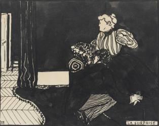 La Surprise, dessin préparatoire pour une gravure sur bois de la série Intimités, vers 1897 (Vallotton Félix) - Muzeo.com