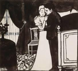 Le Rubis ou la Belle Epingle, dessin préparatoire pour une gravure sur bois de la série Intimités, (Vallotton Félix) - Muzeo.com
