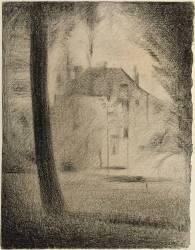 Le Tronc d'arbre et la maison (Seurat Georges) - Muzeo.com