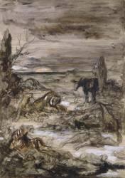 Les Animaux malades de la peste. Esquisse pour les fables de La Fontaine (Moreau Gustave) - Muzeo.com