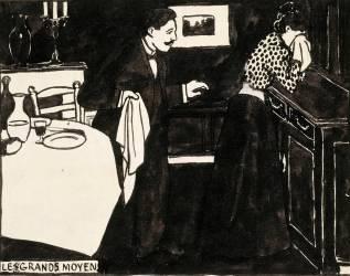 Les grands moyens, dessin préparatoire pour une gravure sur bois de la série Intimités, vers 1897 (Vallotton Félix) - Muzeo.com