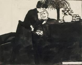 L'Explication, dessin préparatoire pour une gravure sur bois de la série Intimités, vers 1897 (Vallotton Félix) - Muzeo.com