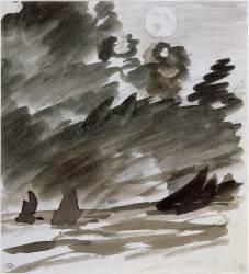 Marine avec voiliers au clair de lune (Manet Edouard) - Muzeo.com