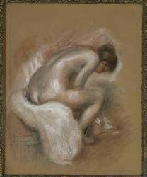Nu féminin assis, s'essuyant le pied gauche (Renoir Auguste) - Muzeo.com