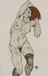 Standing Nude in Black Stockings (Schiele Egon) - Muzeo.com