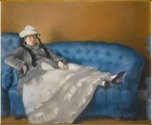 Portrait de madame Edouard Manet sur un canapé bleu (Manet Edouard) - Muzeo.com