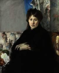 Portrait de Madame Pontillon, soeur de l'artiste, assise, sur un canapé (Morisot Berthe) - Muzeo.com