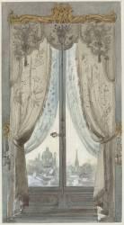 Projet de rideaux à décor floral ornant une fenêtre donnant sur un paysage de Vienne (Zoegger Antoine) - Muzeo.com