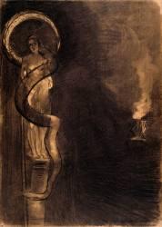 Serpent Auréole : figure féminine sur une colonne, enroulée d'un serpent (Redon Odilon) - Muzeo.com